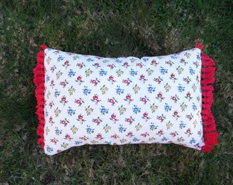 Floral Print and Fringe Boudoir Throw Pillow
