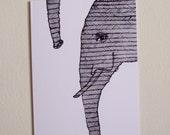 fun elephant LONG TRUNK greeting card A6 ink - xEQUINOX