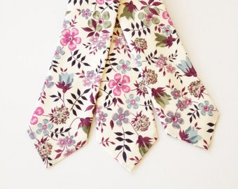 Liberty of London Print tie, Purple Liberty Tie, custom purple tie, purple groomsmen tie, lavender liberty print, edenham, cream tie,