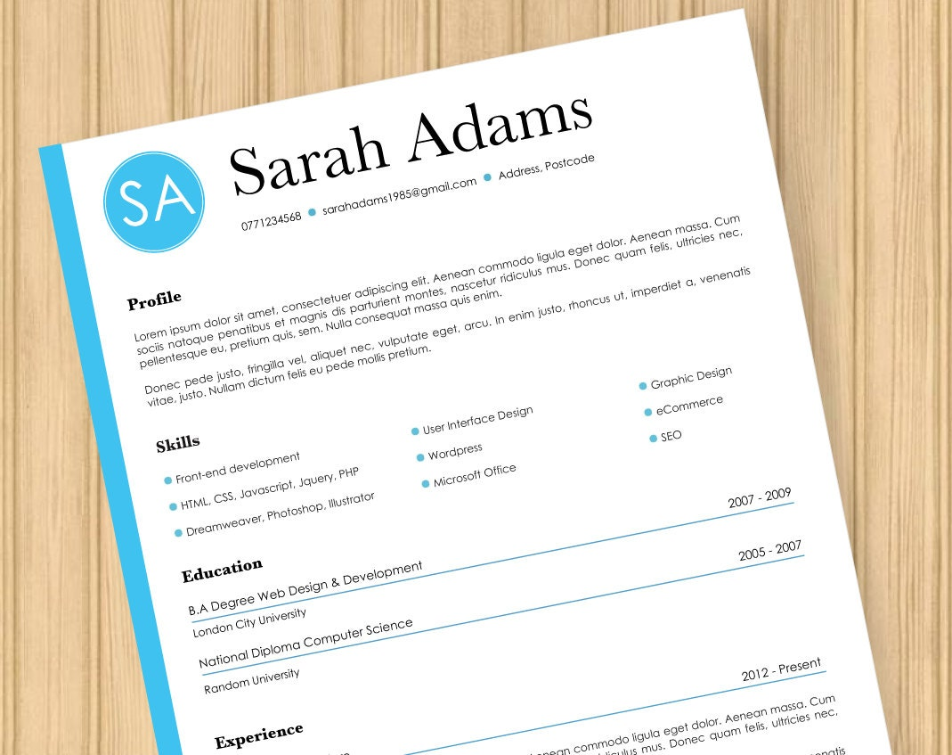 ssis design document template - cv resume cover letter modern blue template instant word