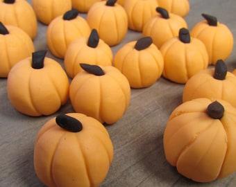 "12 - ONE DOZEN - Gumpaste 1"" Pumpkin Cupcake Toppers - Edible Fall/Halloween Decorations!"