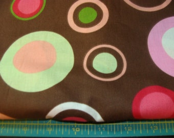 Multi-color Polkadots on Brown Cotton Fabric bty