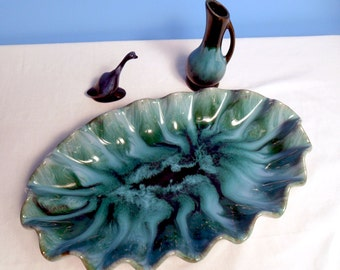 Vintage BLUE LAVA GLAZED --Fabulous Fire Glazed Blue Mountain Pottery--Bowl Pitcher Set