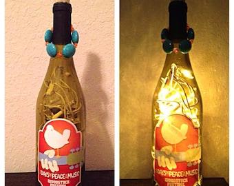 Woodstock wine bottle lamp