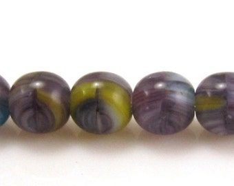 Midnight Glow HurriCane 6mm Smooth Round Czech Glass Beads #1069