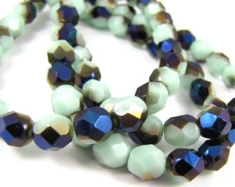 Pale Turquoise - Blue Iris  6mm Facet Round Czech Glass Fire Polished Beads #1826