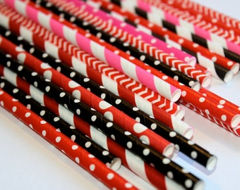 24 Black and red pink polka dotted dots Lady bug ladybug themed striped stripes paper straw first birthday party bridal baby shower