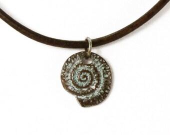 Sea Snail Necklace, Sea Snail Pendant, Patina Necklace, Summer Beach Necklace, Leather Necklace