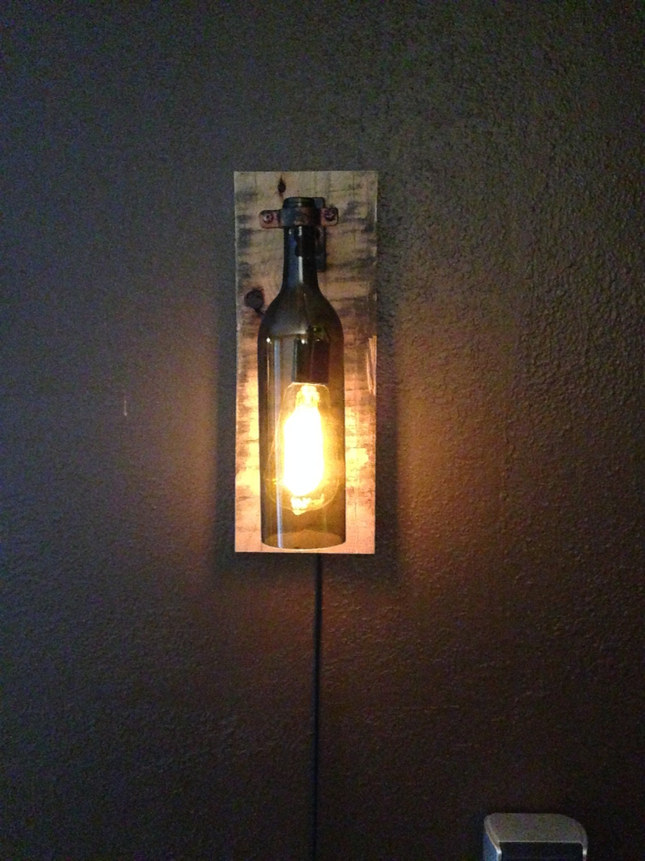 Rustic wine bottle wall light sconce light by winecountrylights - Wine bottle light fixtures ...