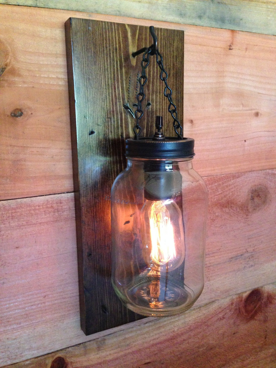 Wall Sconce Hanging Hardware : Rustic Mason Jar Wall Light/ Sconce Light by WineCountryLights