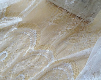 Exquisite Chantilly Lace Fabric in White Soft  Eyelash Fabric Wedding Bridal Lace Fabric Costume Design