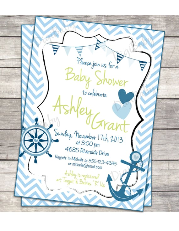 nautical anchor baby shower invitation chevron blue grey 5x7 or 4x6