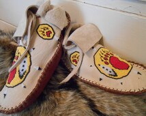 Custom Made to Order Beaded Moccasins, Short Mocs, Handmade, Hand Beaded, Native American, Hippie, Boho, Powwow, Grounding Shoes, Regalia