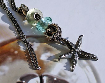 925 Silver Fantasy-Necklace with  Seastar  Pendant, Shipping Free!