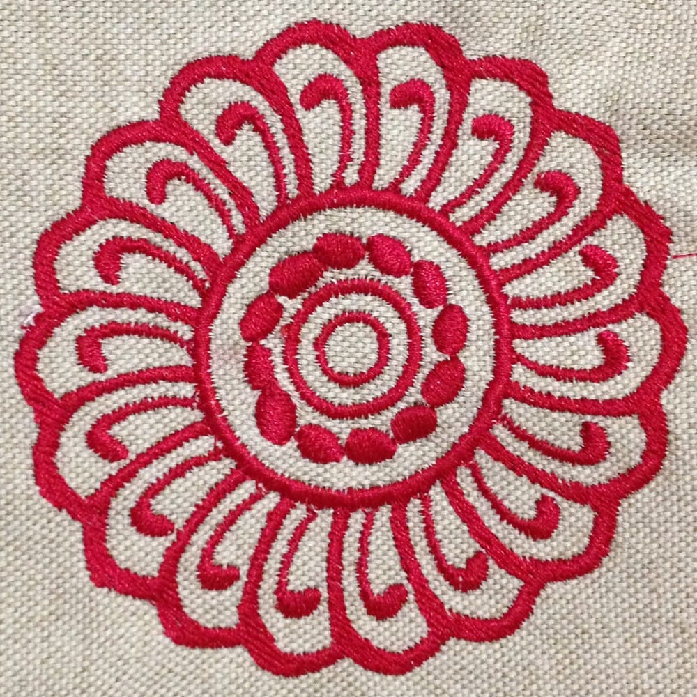 Lovely modern abstract flower machine embroidery design