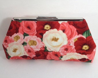Beautiful Rose Print Clutch Purse with Silver Finish Snap Close Frame