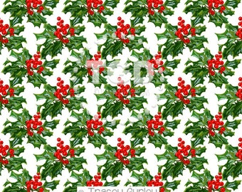 Holly Berry Cluster Digital Paper, Original Art Download  - holiday digital paper, holly berry pattern, holly berry paper