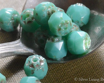 Turquoise Barrels (25) - Czech Glass Bead - 6mm - Cathedral