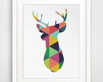 Deer Art, Deer Print, Deer Wall Print, Deer Wall Prints, Colorful Deer, Deer Prints, Deer Wall Prints, Colorful Geometric Deer Head