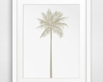 Palm Tree Print, Beige Wall Decor, California Art, Beach Decor, Tropical Decor, Beach Wall Art, Tropical Wall Prints, California Home Decor