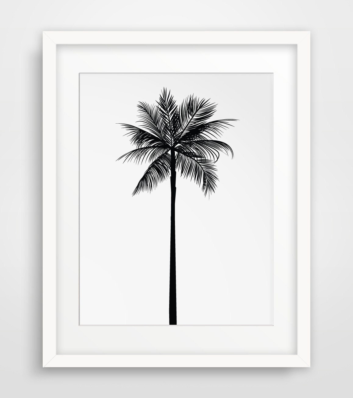 Palm tree print palm leaves print palm tree by for Black and white tree wall mural