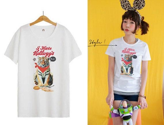 Tiger T Shirt Cool Vintage T Shirts Women Tees Crew Neck Tee