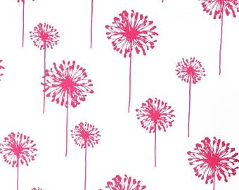 SALE - Premier Prints Dandelion Candy Pink Fabric - Fabric by the 1/2 yard - Pink Dandelion Fabric