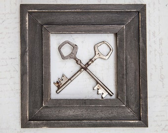 WOW Vintage Medium Key x 2 Couple Pair Keys | Old Steampunk Rustic Wedding Metal Object Primitive Art Artisan Jewelry Component Finding Part