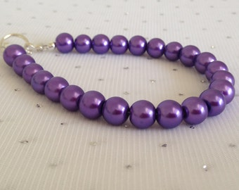 Purple Wedding Jewelry, Purple Pearl Bracelet, Purple Bridesmaid Jewelry, Bridesmaid Gift, Purple Beaded Jewelry