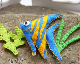 Sailfish - Felt pattern and Tutorial - DIY - Making pattern PDF - Plushie animal Instructions