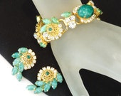 Juliana Green Bracelet Earrings Filigree Beads Rhinestone Demi Parure