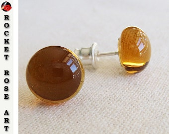 Sterling Silver Stud Earrings Amber Fused Glass Cabochon 9mm -10mm Elegant Modern Minimalist Post Earrings