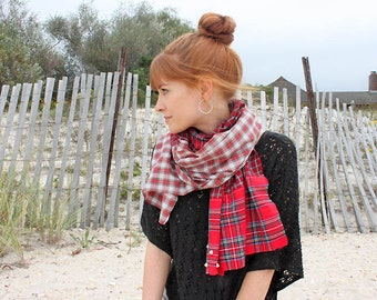Ruby Soho- upcycled red plaid scarf