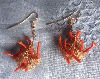 Hand made bronze wire earrings and red coral.
