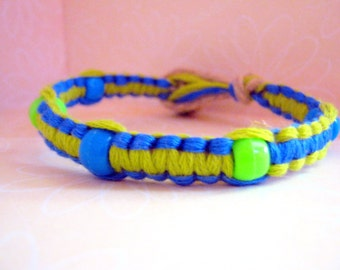 Bright Colored Blue and Green Bracelet