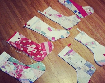Custom Made to Order Vintage Quilt Stocking - YOU pick the quilt pattern