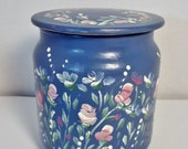 A Pretty Painted  Covered Glass Jar Hand Painted in an Original Rose Garden Design.