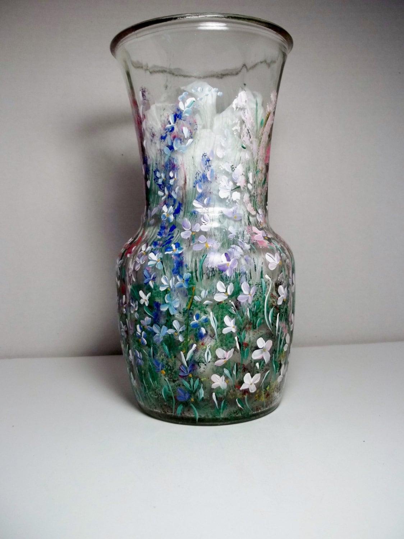 Vintage glass glassware vase hand painted rosemaling folk art for Hand painted glassware