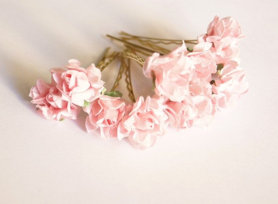 Wedding Hair Flowers Pink : Bridal hair accessories pink rose powder flower