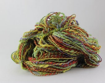 Merino Handspun wool, Wool Yarn, Eco friendly yarn, Worsted Weight,  2ply, rainbow