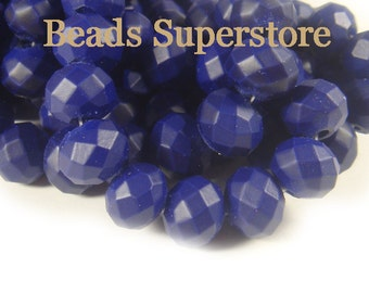 SALE CLOSEOUT 10 mm x 8 mm Neon Royal Blue Faceted Rondelle Crystal Bead - 20 pcs