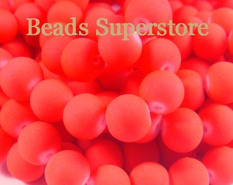 SALE CLOSEOUT 10 mm Fluorescent Neon Red Glass Round Bead - 19 pcs