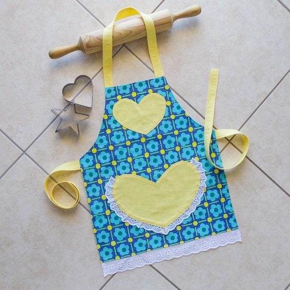 Kids Apron Blue Yellow Girls Kitchen Craft Art Play Apron