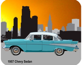 Custom, personalized mouse pad -1957 Chevy Sedan - Add your own text-Free Shipping