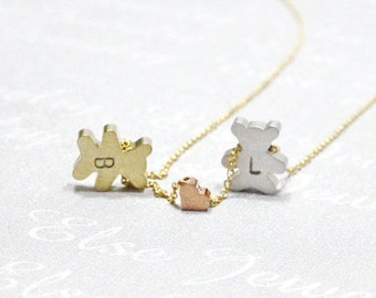 Personalized Initial Teddy Bear Necklace -Gold Bear .Polar Bear Necklace.Babe Twin Bears Necklace.Handstamped Jewelry Etsy.New Mom Gift.