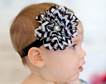 Baby girl headbands, black and white chevron flower headband, infant girl to toddler, flower girl, black band, 1st birthday