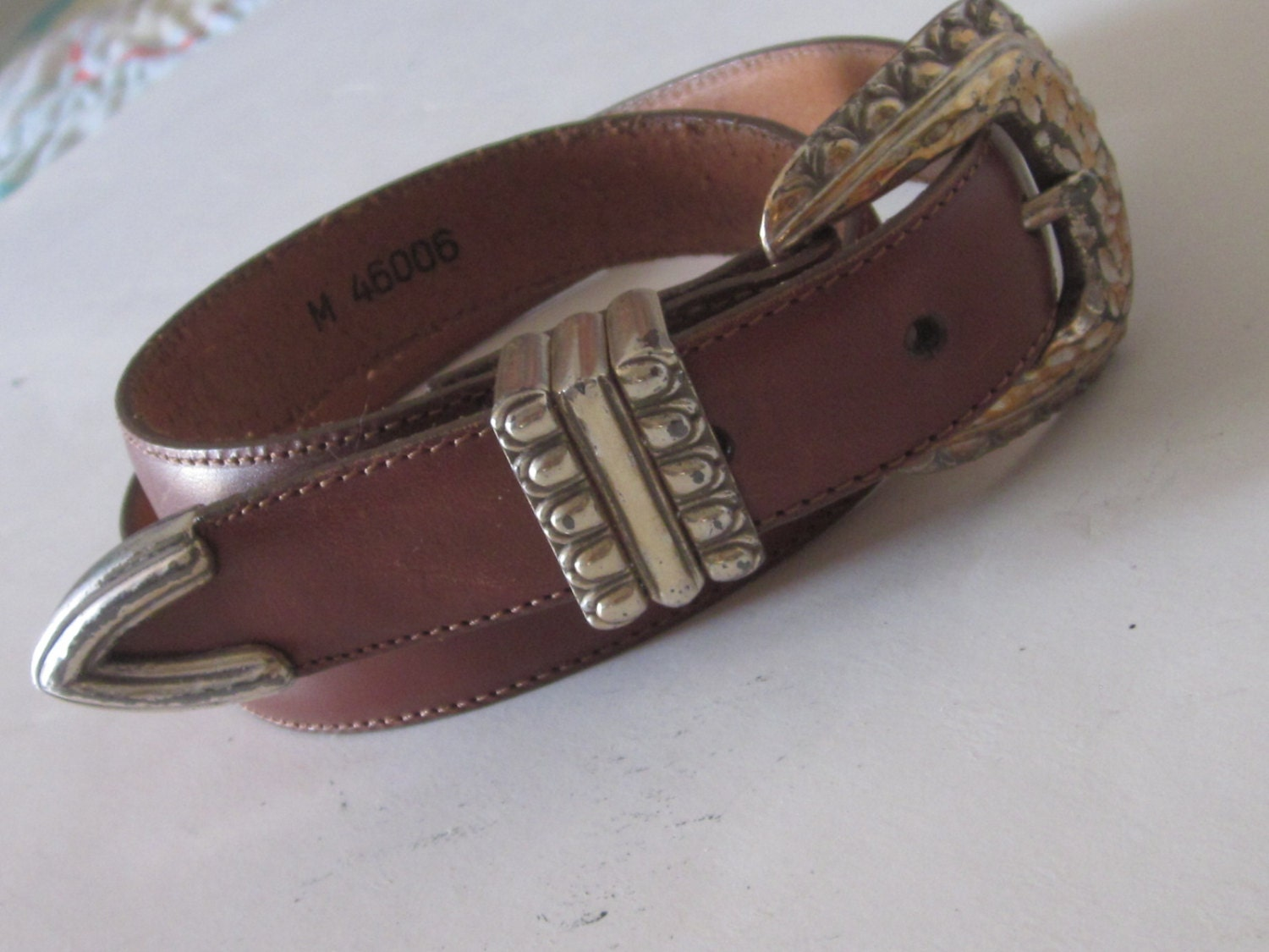 brighton leather belt s accessory silver buckle tip