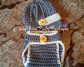 Newborn Crochet hat, Blue Crochet Diaper Cover and Newsboy hat w/ visor SET, Baby Boy SET, Photo Prop Set, Made to Order, Newborn