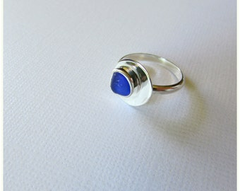 Sea glass jewelry. Silver ring. Beach glass ring. Sterling silver jewelry. Handmade Maine Jewelry. Artisan Silver Ring