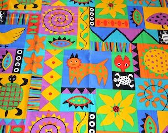 Colorful swedish vintage fabric Gotosimbo des Helen Trast Borås 80s